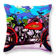 Blue Dogs On Motorcycles - Dawgs On Hawgs Throw Pillow