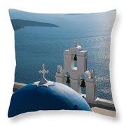 Blue Domed Church In Santorini Greece Throw Pillow