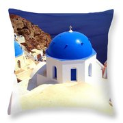 Blue Domes In Santorini Throw Pillow