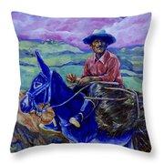 Blue Donkey Throw Pillow