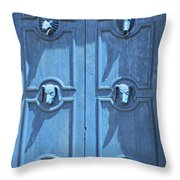 Blue Door Decorated With Wooden Animal Heads Throw Pillow