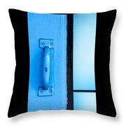 Blue Door Handle Throw Pillow