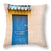 Blue Door With A Lock Throw Pillow