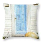 Blue Door With Pumpkin Throw Pillow
