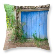 Blue Doors And Yellow Flowers Throw Pillow
