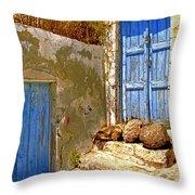 Blue Doors Of Santorini Throw Pillow