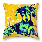 Blue Doxie Throw Pillow