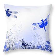 Blue Dragonfly Art Throw Pillow