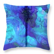 Blue Dragonfly By Sharon Cummings Throw Pillow