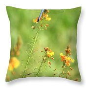 Blue Dragonfly In The Flower Garden Throw Pillow