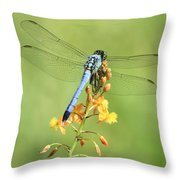 Blue Dragonfly On Yellow Flower Throw Pillow