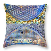 Blue Drains Throw Pillow