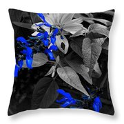 Blue Drippings Throw Pillow
