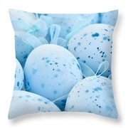 Blue Easter Eggs Throw Pillow