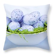 Blue Easter Eggs In Bowl Throw Pillow