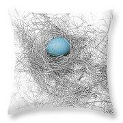 Blue Egg In Bird Nest Monochrome Throw Pillow