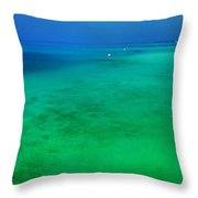 Blue Emerald. Peaceful Lagoon In Indian Ocean  Throw Pillow