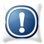Blue Exclamation Point Button Throw Pillow