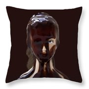Blue Eye Of A Chocolate Doll Throw Pillow