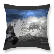 Blue Eyed And Moon Throw Pillow