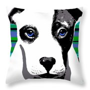 Blue Eyed Bully Throw Pillow