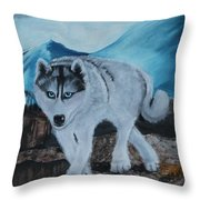 Blue Eyed Husky Throw Pillow