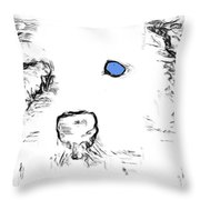 Blue Eyed Pup Throw Pillow