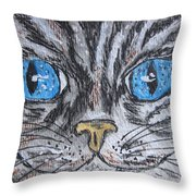 Blue Eyed Stripped Cat Throw Pillow