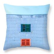 Blue Facade And Colorful Windows Throw Pillow