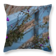Blue Fence Purple Flowers Throw Pillow