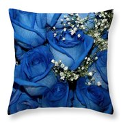 Blue Fire And Ice Roses Throw Pillow