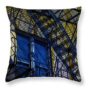 Blue Fire Escape Throw Pillow