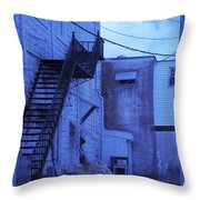Blue Fire Escape Usa Near Infrared Throw Pillow