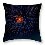 Blue Firework Flower Throw Pillow by Robert Bales
