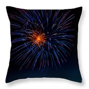 Blue Firework Flower Throw Pillow