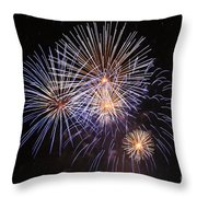 Blue Fireworks At Night Throw Pillow