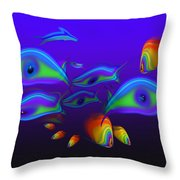 Blue Fish Dolphin Throw Pillow