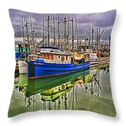 Blue Fishing Boat Hdr Throw Pillow