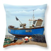 Blue Fishing Boat Throw Pillow