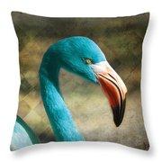 Blue Flamingo Throw Pillow