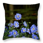 Blue Flax By The Pond Throw Pillow