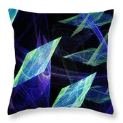 Blue Floating Diamonds Throw Pillow