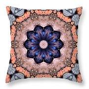 Blue Flora Mandala Throw Pillow
