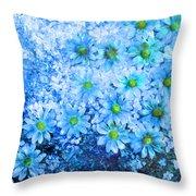 Blue Floral Fantasy Throw Pillow