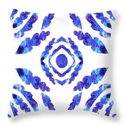 Blue Floral Pattern II Throw Pillow