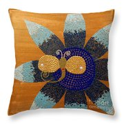 Blue Flower And Dragonfly Throw Pillow