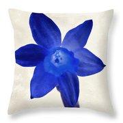 Blue Flower Beige Texture Throw Pillow