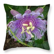 Blue Flower Blooming Throw Pillow