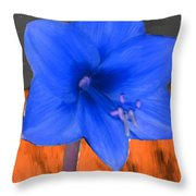 Blue Flower In The Fall At Night Throw Pillow