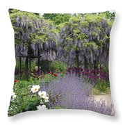 Blue Flowergarden With Wisteria Throw Pillow